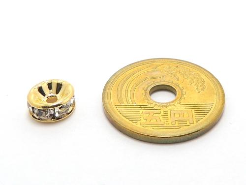 平ロンデル クリスタル/ゴールド 8mm×4mm 5個セット ハンドメイド・手作りアクセサリー用