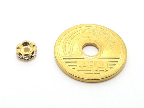 波ロンデル クリスタル/ゴールド 6mm×3mm 5個セット ハンドメイド・手作りアクセサリー用