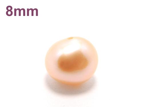 パワーストーン天然石ビーズ粒売り パール(淡水パール)(オレンジ)AAAA(6月誕生石)オーバル型8ミリ 復縁・恋愛運 ハンドメイド・手作りアクセサリー用 (11893)