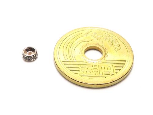平ロンデル クリスタル/ピンクゴールド 4mm×2mm 5個セット ハンドメイド・手作りアクセサリー用