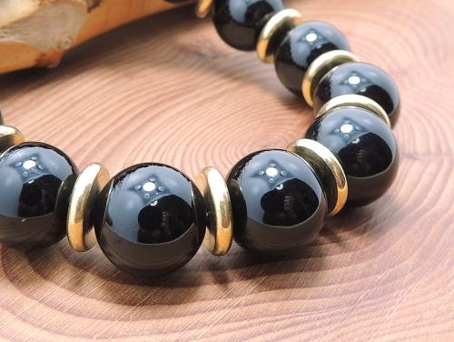 パワーストーンブレスレット(メンズ) オニキスAAAAA最高品質(8月誕生日石)12ミリ チベット合金真鍮10ミリ 魔除・厄除 [サイズ選べる][日本製][送料無料] (11944)