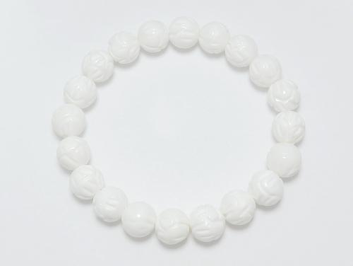 パワーストーンブレスレット シャコガイ(蓮花彫り)AAAA8ミリ 魔除・厄除 [サイズ選択可][日本製][送料無料] (11950)