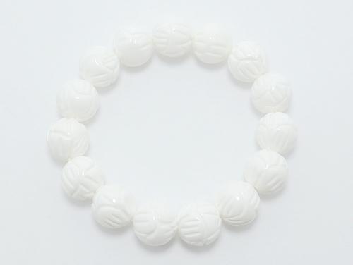 パワーストーンブレスレット シャコガイ(蓮花彫り)AAAA12ミリ 魔除・厄除 ワンカラーブレス [サイズ選べる][日本製][送料無料] (11952)