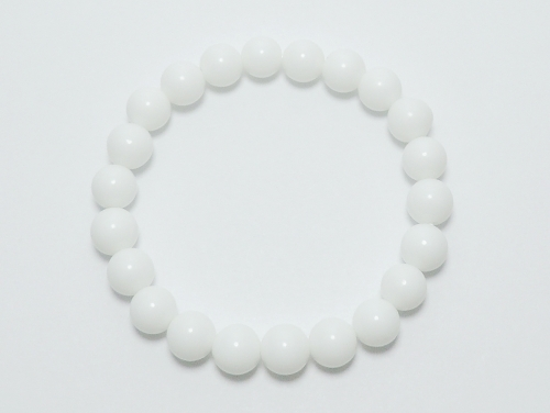 パワーストーンブレスレット ホワイトオニキスAAAA8ミリ 魔除・厄除 [サイズ選択可][日本製][送料無料] (11968)