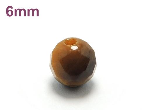 パワーストーン天然石ビーズ粒売り タイガーアイ(64面カット)AAA(10月誕生石)6ミリ 金運 ハンドメイド・手作りアクセサリー用 (11987)