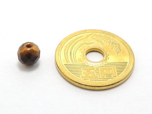 パワーストーン天然石ビーズ粒売り タイガーアイ(64面カット)AAA(10月誕生日石)6ミリ 金運 ハンドメイド・手作りアクセサリー用 (11987)