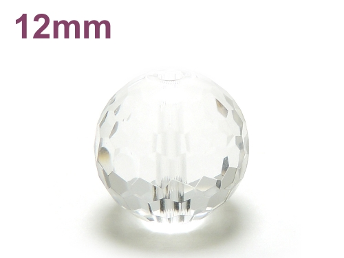パワーストーン天然石ビーズ粒売り クリスタル(水晶)(128面カット)AAAA(4月誕生石)12ミリ 開運 ハンドメイド・手作りアクセサリー用 (12024)