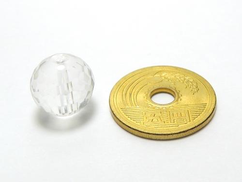 パワーストーン天然石ビーズ粒売り クリスタル(水晶)(128面カット)AAAA(4月誕生日石)12ミリ 開運 ハンドメイド・手作りアクセサリー用 (12024)