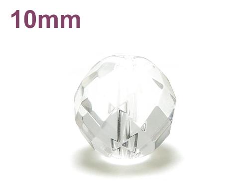 パワーストーン天然石ビーズ粒売り クリスタル(水晶)(64面カット)AAAA(4月誕生石)10ミリ 開運 ハンドメイド・手作りアクセサリー用 (12026)