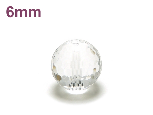パワーストーン天然石ビーズ粒売り クリスタル(水晶)(128面カット)AAAA(4月誕生石)6ミリ 開運 ハンドメイド・手作りアクセサリー用 (12027)