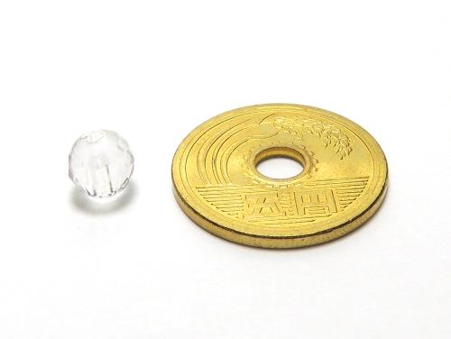 パワーストーン天然石ビーズ粒売り クリスタル(水晶)(128面カット)AAAA(4月誕生日石)6ミリ 開運 ハンドメイド・手作りアクセサリー用[送料無料] (12027)