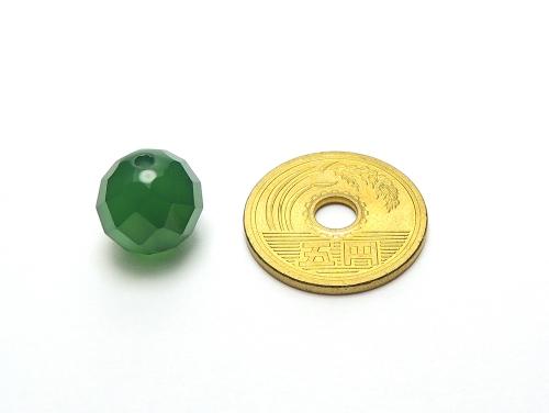 パワーストーン天然石ビーズ粒売り グリーンカルセドニー(64面カット)AAAA12ミリ 対人関係 ハンドメイド・手作りアクセサリー用 (12044)