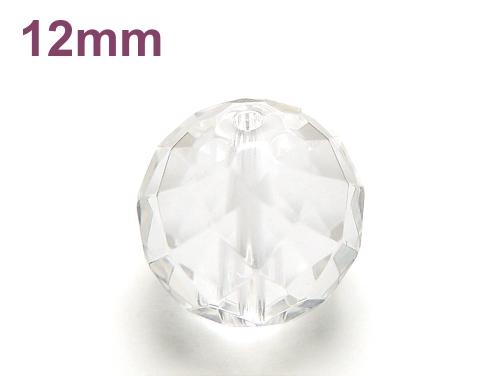 パワーストーン天然石ビーズ粒売り クリスタル(水晶)(64面カット)AAAA(4月誕生石)12ミリ 開運 ハンドメイド・手作りアクセサリー用 (12065)