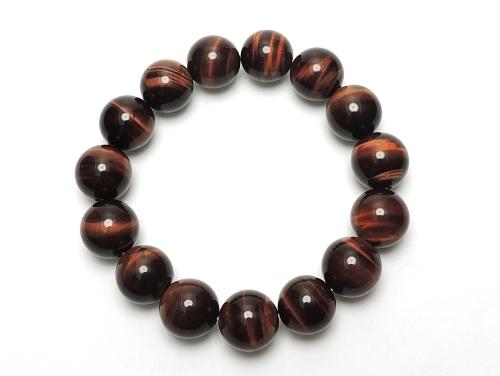 パワーストーンブレスレット(メンズ) レッドタイガーアイAAAA(10月誕生日石)12ミリ 金運 ワンカラーブレス [サイズ選べる][日本製][送料無料] (12095)