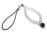 パワーストーンストラップ タイガーアイAAAA(10月誕生日石)6ミリ クリスタル(水晶)AAAAA最高品質(4月誕生日石)6ミリ 金運・開運[日本製][送料無料] (10486)