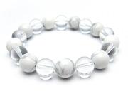 パワーストーンブレスレット ホワイトハウライトAAAA10ミリ クリスタル(水晶)AAAAA最高品質(4月誕生日石)10ミリ 健康・癒し・開運 [サイズ選択可][日本製][送料無料] (10682)