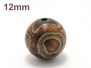 アジアン・エスニックパワーストーン天然石ビーズ粒売り チベット天珠(三眼)AAAA12ミリ 金運 ハンドメイド・手作りアクセサリー用 (11522)