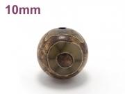 アジアン・エスニックパワーストーン天然石ビーズ粒売り チベット天珠(三眼)AAAAA最高品質10ミリ 金運 ハンドメイド・手作りアクセサリー用 (11527)