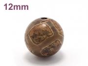 アジアン・エスニックパワーストーン天然石ビーズ粒売り チベット天珠(亀甲)AAAAA最高品質12ミリ 金運 ハンドメイド・手作りアクセサリー用[送料無料] (11528)