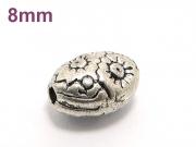 アジアン・エスニックビーズ粒売り チベット合金オーバル8ミリ 魔除・厄除 ハンドメイド・手作りアクセサリー用 (11554)