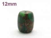 アジアン・エスニック パワーストーン天然石ビーズ粒売り チベット金彩石(グリーン)AAAA12ミリ 金運 ハンドメイド・手作りアクセサリー用[送料無料] (11652)