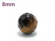 パワーストーン天然石ビーズ粒売り タイガーアイ(64面カット)AAA8ミリ 金運 ハンドメイド・手作りアクセサリー用 (11725)