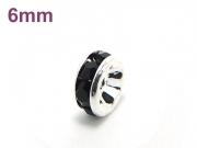 平ロンデル ジェット/シルバー 6mm×3mm 5個セット ハンドメイド・手作りアクセサリー用