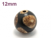 アジアン・エスニックパワーストーン天然石ビーズ粒売り チベット天珠(グリーン亀甲)AAAA12ミリ 金運 ハンドメイド・手作りアクセサリー用 (11867)