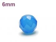 パワーストーン天然石ビーズ粒売り ブルーカルセドニー(64面カット)AAAA6ミリ 対人関係 ハンドメイド・手作りアクセサリー用 (12045)