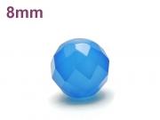 パワーストーン天然石ビーズ粒売り ブルーカルセドニー(64面カット)AAAA8ミリ 対人関係 ハンドメイド・手作りアクセサリー用 (12046)