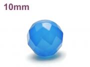 パワーストーン天然石ビーズ粒売り ブルーカルセドニー(64面カット)AAAA10ミリ 対人関係 ハンドメイド・手作りアクセサリー用 (12047)